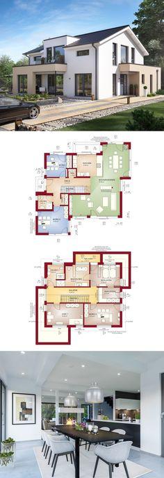 Modernes Design-Haus mit Satteldach - Fertighaus Concept M 155 Bien Zenker - Einfamilienhaus bauen Grundriss modern offene Küche separates Büro - HausbauDirekt.de