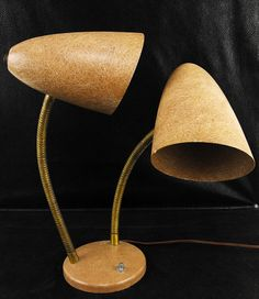 Mid Century Double Lamp Fiberglass Cone Goose Neck by Vintage2Mod, $75.00