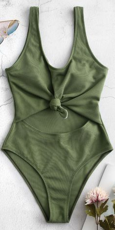 Tea Green Ribbed Knotted Cut Out Swimsuit Women Crafted from a unique ribbed fabric which is comfortable, the swimsuit features a scooped collarline which shows off your beautiful collar, a low scooped back for adequate One Piece Swimsuit Sporty, One Piece Swimsuit For Teens, One Piece Swimsuit Flattering, Swimsuits For Big Bust, One Piece Swimsuit Slimming, Backless One Piece Swimsuit, Flattering Swimsuits, Swimsuits For Teens, Green Swimsuit