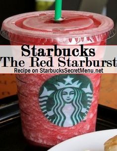 Starbucks The Red Starburst Blended Strawberry Lemonade (Lemonade and strawberry flavoring) Add Vanilla Bean Powder scoop for a tall, for grande and 2 for venti) Add Raspberry syrup pump for tall, for grande, 2 for venti) Starburst Recipe, Starburst Drink, Starbucks Secret Menu Drinks, Starbucks Recipes, Starbucks Coffee, Coffee Recipes, Starbucks Frozen Drinks, Drink Recipes, Deserts