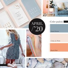 Pantone Colors: Faded Denim, Crème de Pêche, Peach Pink -- Follow Paper Couture Studio on Instagram and Facebook! @papercouturestudio -- Latest Colour, Couture, Pantone Color, Color Trends, Palette, Boards, Peach, Style Inspiration, Facebook