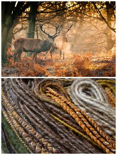 Autumn Wildlife - unique set of synthetic dreads inspired by the picture of deers in the forest.