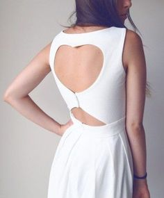 Heart Cut Out Pleated Dress in White