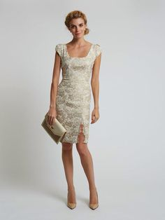 Katie Fong Spring 2014 Collection ◦ The Jane Dress: Champagne novelty pencil dress with lace trimmed slit // katiefong.com