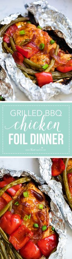 Grilled BBQ chicken foil dinner -5 simple ingredients and 30 minutes to make! An EASY and delicious dinner with no clean up.