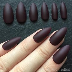 Matte burgandy • Handpainted False Nails • Fake Nails • Press on Nails • Stick on Nails by PerfectlyNailed on Etsy https://www.etsy.com/listing/399792525/matte-burgandy-handpainted-false-nails