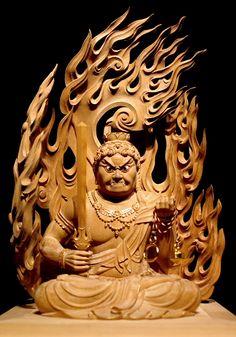 不動明王像 Japanese Painting, Japanese Art, Traditional Japanese Tattoo Designs, Japanese Buddhism, Buddhist Art, Horror Art, Religious Art, Resin Art, Sculpture Art