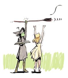 wicked the musical by wingpoltergeist Wicked Musical, Musical Theatre, Elphaba And Glinda, Defying Gravity, Fanart, Wizard Of Oz, Picture Design, Art Sketchbook, Fandoms