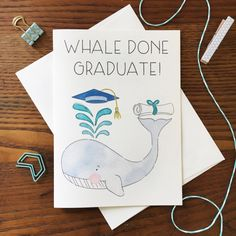 Whale Card. For Graduate. Graduation card. by ARIllustration