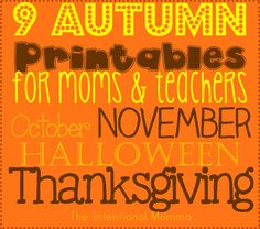 Autumn Printables for moms and teachers