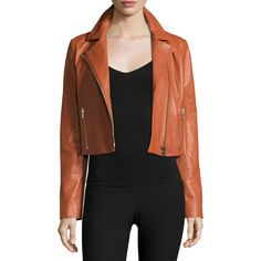 Elizabeth And James Gigi Cropped Leather Jacket ($995) ❤ liked on Polyvore featuring outerwear, jackets, cinnamon, lined leather jacket, elizabeth and james, genuine leather jackets, cropped jacket and real leather jackets