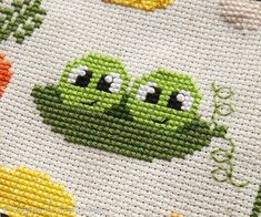 Peas in a Pod Cross Stitch Pattern PDF, You can make very specific patterns for textiles with cross stitch. Cross stitch versions can almost surprise you. Cross stitch novices will make the versions they need without difficulty. Counted Cross Stitch Patterns, Cross Stitch Designs, Cross Stitch Embroidery, Cross Stitch Kitchen, Mini Cross Stitch, Cute Fruit, Pdf Patterns, Cross Stitching, Needlework