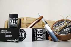 KEEN is a classic straight edge shaving kit. The kit includes a straight blade razor, leather sharpening strop, silver tip badger hair shaving brush, a shaving cream soap bar, and a lathering mug.