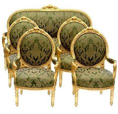 Emanuel Set of French Louis XV Settee & 4 Chairs Gold Leaf - Affordable Luxury!