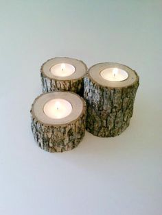 Oak log tea light candle holder, rustic wedding candle, rustic decor. Tea light candle holder.