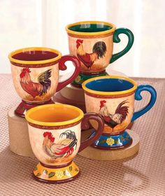 Rooster Kitchen Decor Set | Coffee Tea Drinks Country Kitchen Rooster