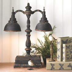 Black Rusty Double Iron Lamp