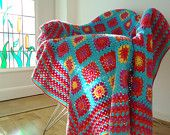 Great border on this crochet squares blanket!