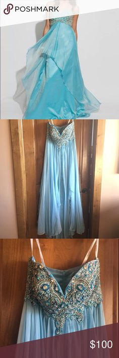 Jovani long sequined prom dress. Beautiful baby blue sequined Jovani 2014 Prom dress. Worn once. Dry cleaned. Jovani Dresses Prom