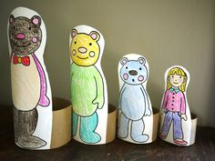 Goldilocks and the 3 bears nesting/tp craft with printable pattern: use for math sizes and measuring