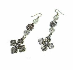 SALE Heavenly Crystal Clear Bejeweled Swirled Celtic Buttony Cross Earrings w/Opalecent Gemcut Beads & Silver Filigree Charm FREE SHIPPING - Only $5.75 on Etsy! https://www.etsy.com/listing/219146920/sale-heavenly-crystal-clear-bejeweled