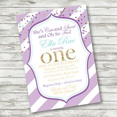 Sparkly First Birthday Invitation - Glitter Confetti Birthday - First Birthday - Lavender Turqoise Invitation - DOWNLOAD and PRINT! by PicklesAndPosies on Etsy