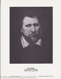 Ben Johnson Poet & Dramatist Vintage Portrait Gallery Artistic Poster Print