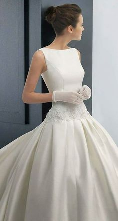 Two by Rosa Clara 2015 Bridal Collection - boatneck simple ball gown wedding dress Wedding Attire, Wedding Gowns, Wedding Blog, Wedding Planner, Sophisticated Bride, Bridal Fashion Week, Yes To The Dress, Bridal Dresses, Event Dresses