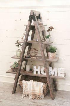 Créez une magnifique étagère échelle avec quelques planches ! Assurément déco et facile à mettre en œuvre, c'est le DIY du mercredi ! Une étagère DIY Pour