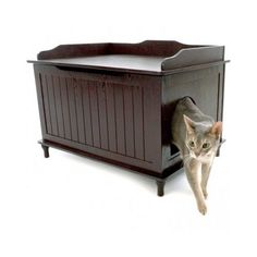 Enclosed Litter Box Cat Covered Large Kitty Furniture Hidden Decorative Bench #DesignerPet
