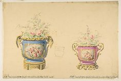 Design for Two Sèvres Porcelain Flower Pots