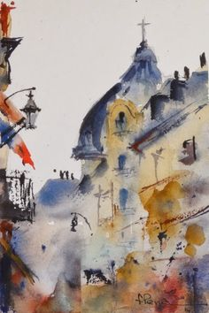 Fernando Pena - Acuarelas - Watercolors Watercolor Artists, Watercolor Landscape, Watercolor And Ink, Artist Painting, Watercolour Painting, Painting & Drawing, Watercolors, Magic Art, Deco