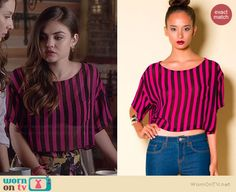 Aria's pink striped cropped tee on Pretty Little Liars.  Outfit Details: http://wornontv.net/36588/ #PLL