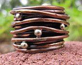 Copper Band Nest Ring Silver Granules