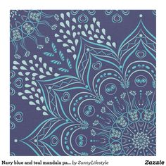 Navy blue and teal mandala pattern fabric Bohemian Fabric, Navy Blue, Teal, Pattern Fabric, Mandala Pattern, Craft Party, Cotton Thread, Custom Fabric