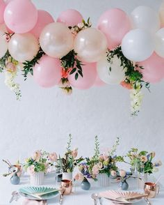 Pink Rose Balloon Garland