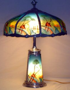 Reverse Painted Handel Pairpoint Lamp Lighted Base Ribbed Gl Ebay Painting Lamps Oil