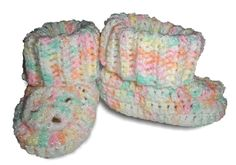 Hand Crocheted Baby Booties.  Soft 100% Acrylic Yarn.  Beautiful Pastel Colors of Peach, Yellow, Sea Green, White  Size 0 - 2 Months Old.