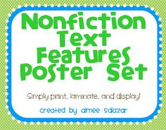 Primarily Speaking: Nonfiction Text Features Poster and a Freebie!