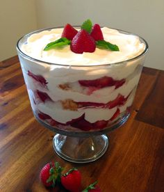 Taste Of Summer Finalist: Strawberry Trifle 16 ounces cream cheese, softened 2 cups powdered sugar 12 ounces whipped cream or Cool Whip 1 teaspoon vanilla 1 angel food cake 3 quarts fresh strawberries cup sugar Fresh mint Angel Food Cake Trifle, Cheesecake Trifle, Köstliche Desserts, Summer Desserts, Delicious Desserts, Dessert Recipes, Trifle Cake, Fruit Trifle, Pastry Recipes