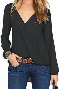 Black Chiffon Blouse is a nice blouse to wear in important occasions. You will look fascinating and glamour wearing chiffon black blouse in any model that you like. Black Chiffon Blouse, Chiffon Shirt, Chiffon Tops, Black Blouse Outfit, Navy Blouse, Green Blouse, Cute Blouses, Red Blouses, Blouses For Women