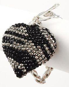 BLING Leopard Zebra Animal Print Designer Crystal & Rhinestone Handmade Heart Toggle Bracelet By Jersey Bling (Dark Zebra): Jewelry: Amazon.com
