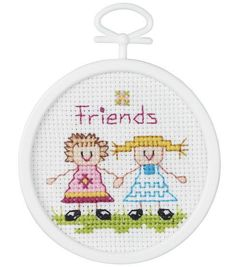 """Friends Mini Counted Cross Stitch Kit-2-1/2"""" Round 18 Count"""