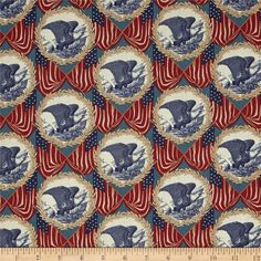 Let Freedom Ring Multi from @fabricdotcom  Designed by Nancy Gere for Windham Fabrics, this cotton print is perfect for quilting, apparel and home decor accents. Colors include red, orange, cream, shades of blue, and shades of brown.