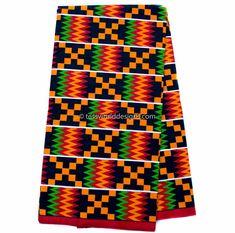 Supreme African Kente fabric, per yard/ Red Wedding Kente print/ Kente / Kente Cloth/ Prom dress fabric/ African Fabric / KF309B