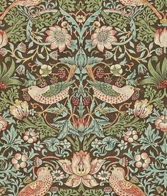 Strawberry Thief (212565) - Morris Wallpapers - Originally a fabric c1883, this enduring classic with its symmetry and intricate detail of both strawberries and thrushes, is Morris at its best. Shown in the brown background colourway.  Please request sample for true colour match.