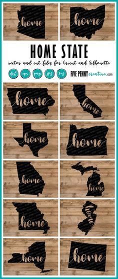 Home State (SVG, PNG, EPS, DXF cut files) for Cricut and Silhouette   State Love   State Pride   Oregon SVG   Ohio SVG   Texas SVG   Iowa SVG