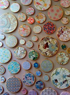 Fabric in embroidery hoops - could make an interesting wall art collage?  Could also use foam core perhaps?