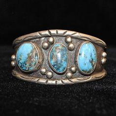Old Pawn/Estate Stamped Sterling Silver & Turquoise Navajo Cuff Bracelet