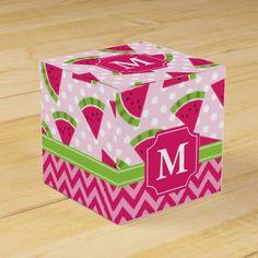 Cute Pink Watermelon Polka Dots Chevron Monogram Favor Box